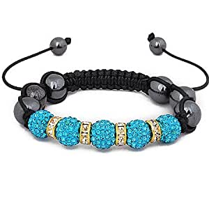 Shamballa Aquamarine crystal friendship bracelet