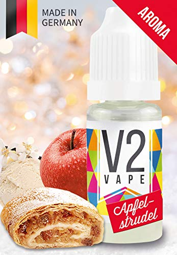 V2 Vape Apfelstrudel / Apfelkuchen AROMA / KONZENTRAT hochdosiertes Premium Lebensmittel-Aroma zum selber mischen von E-Liquid / Liquid-Base für E-Zigarette und E-Shisha 10ml 0mg nikotinfrei -