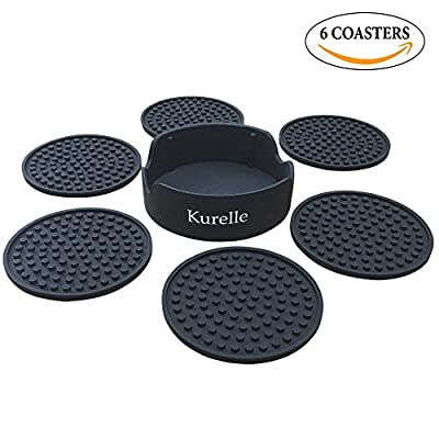 Drink Coasters, 6 Silicone Rubber Table Coasters With Holder, Non-Slip No Spills, Best Holders For Coffee Beer Mug Wine Glass Bottle, Prevents Table Top & Furniture From Stains, For Home and Bar Use - cheap UK light store.