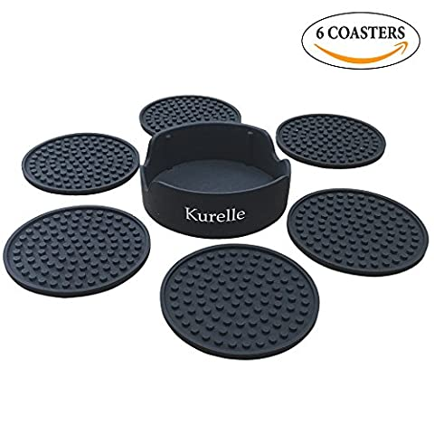 Drink Coasters, 6 Silicone Rubber Table Coasters With Holder, Non-Slip No Spills, Best Holders For Coffee Beer Mug Wine Glass Bottle, Prevents Table Top & Furniture From Stains, For Home and Bar Use