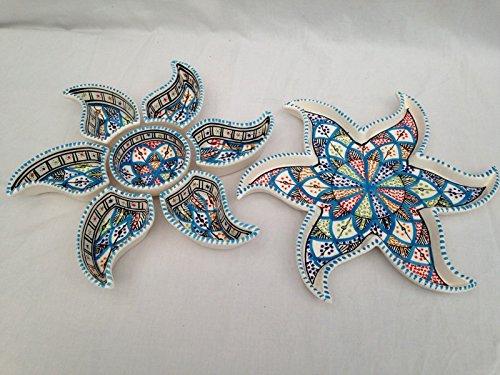 Sun Form Aperitif, Tapas, Snack Schalen. Handgefertigt, handgemalt Tunesische Rainbow