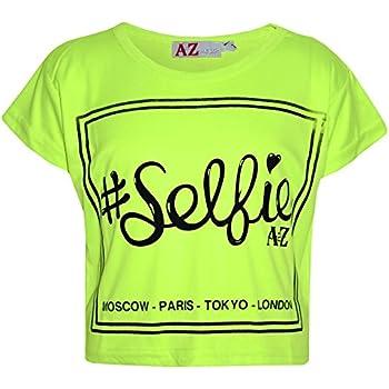 7d10c17d561e A2Z 4 Kids Girls Top Kids #Selfie Print Stylish Fahsion Trendy T Shirt Crop  Top New Age 7 8 9 10 11 12 13 Years