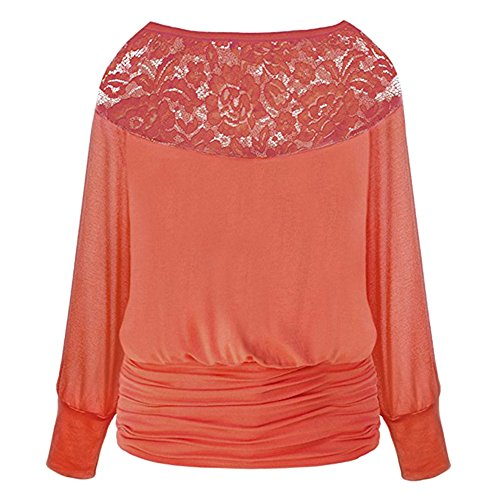 Hibote Femme Tshirt dentelle chemise Oversize Top manches longues Femmes coton chemises Pull en vrac Sexy col rond Chemisier Baggy Tops doux confortable blanc noir rouge orange S-XXL Orange rouge