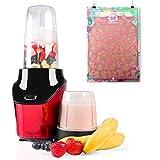 Eculina Smoothie Maker in rot/schwarz - leistungsstarker Standmixer 1000 Watt Leistung - 400 und 1000 ml Tritan Becher BPA-frei inkl. Qapter Poster Rubbelkarte - 55 Smoothies, mit Rezeptebuch