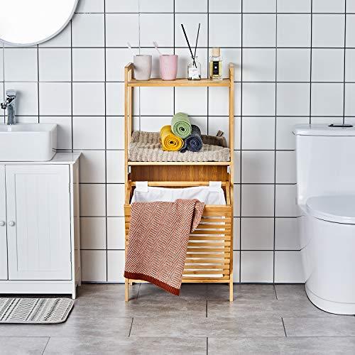 Badzimmer Wäschekorb, Badregal mit Wäschekorb, Laundry Wäschesortierer, Badezimmerregal 2 Ablagen mit Wäschesammler, Regal aus Bambus