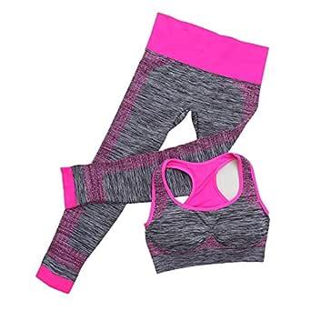 Shopo Women's Spandex and Nylon Fitness Workout Clothing Gym Sports Running Slim Leggings Yoga Tracksuit (Free Size)