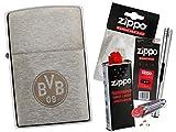 Zippo BVB 09 Chrome Brushed mit Zippo Zubehör Auswahl und L.B Chrome Stabfeuerzeug (mit Zubehör B)