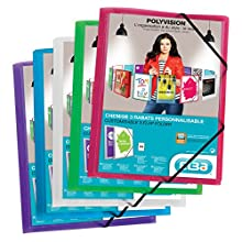 Elba Polyvision Elasticated Folder A4 Green Colorless, Blue, Pink, Purple, Green, Assorted
