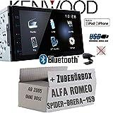 Alfa Romeo 159 Spider Brera Navi - Autoradio Radio Kenwood DMX110BT - 2DIN Bluetooth | USB | MP3 | 7' TFT Einbauzubehör - Einbauset
