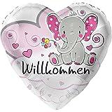 Elefant Willkommen Rosa XL Ø 45cm | Folien Luftballon zur Geburt | Inkl. gratis Geschenkkarte | Helium geeignet | Made in Germany High Quality Ballon vom Luftballonprofi & deutschen Heliumballon Experten