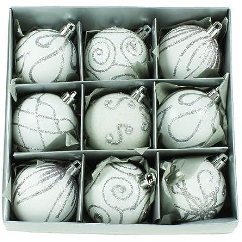 Christmas Direct - Set de 9 bolas para árbol de Navidad (6 cm), color blanco y plateado
