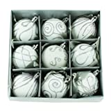 Set of Nine White Christmas Tree Baubles (6cm) by Christmas Direct