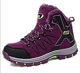Kuki donna stivali, scarpe, stivali da neve da donna, caldi, per esterni, scarpe in cotone maschio, impermeabile, anti-scivolo, hiking, invernale, da ginnastica, Plus cashmere, scarpe da trekking, 8012 purple