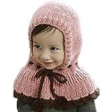 ARAUS-Baby Mädchen winter Mütze Strick Mütze winter mädchen Hüte warm Schalmütze Alter 1-8 Pink