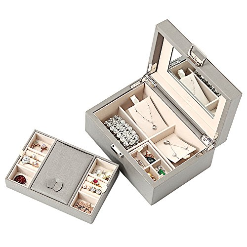 Vlando Exquisite Leather Jewellery box, Fabulous Gift for Girls (Grey)