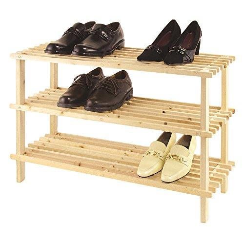 axentia Holzschuhregal mit 3 Ablageflächen für insgesamt 9 Paar Schuhe, Schuhablage mit Stecksystem und FSC-Zertifizierung, das Holzregal lässt sich ohne lästiges Schrauben montieren, Schuhbank mit den Maßen ca. 45 x 77 x 26 cm und daher optimal für kleine Flure