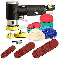 SPTA 25mm/50mm/80mm Meuleuse Excentrique, Mini Ponceuse à Air Pneumatique de Polisseuse avec 33 Tampons De Polissage pour Voiture