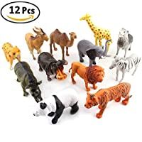 IPENNY Plastic Model Animals Toy 12 PCS Animal Figure Toys Set Plastic Animals Realistic Wild Forest Zoo Animal Learning Educational Resources Playset For Kids Toddler Child