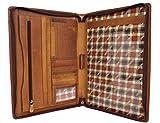 Leder A4 Leder-Schreibmappe Organizer Konferezmappe Hill Burry Aktenmappe Dokumentenmappe mit Reißverschluss Arbeitsmappe für Damen Herren aus hochwertigem Echt-Leder Vintage braun 51173