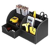 Sumnacon Organisateur de Bureau/ Table , Boîte de Organisateur/ Rangement en PU Cuir avec 7 Compartiments pour Ranger objets dans le Table / Bureau (Noir)