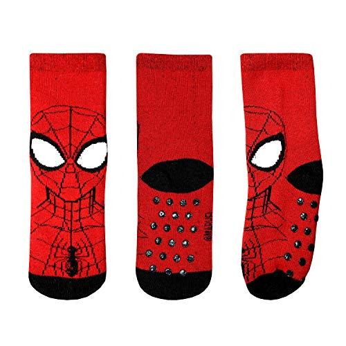 Marvel Rutschfeste Socken Jungen Spiderman 2-6 Jahre Baumwolle (Rot/Schwarz, EU 23/26) (Herren-socken Spiderman)