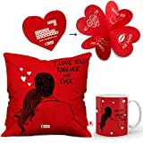 #7: Indibni Gift for Valentine Red Printed Cushion 12x12 with filler and Coffee Mug I love You Forever