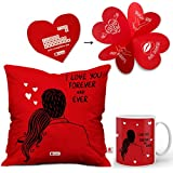 Indibni Gift for Valentine Red Printed Cushion 12x12 with filler and Coffee Mug I love You Forever