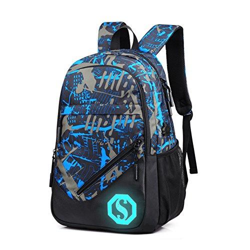 Impermeabile zaino scuola zaino da viaggio luminoso zaino sdoppiabile sportivo grande casual escursione con 2 sacchetti per uomo materna unisex (blu)