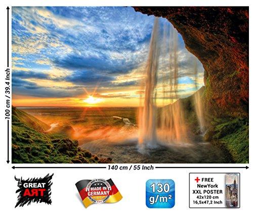 GREAT ART XXL Poster - Wasserfall - Wandbild Dekoration Sonnenuntergang vor Horizont Natur...