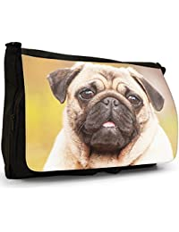 China Asian Love Pug Dogs Large Messenger Black Canvas Shoulder Bag - School / Laptop Bag