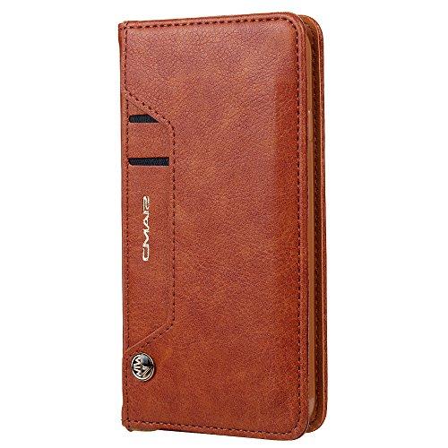 Funda cartera de Samsung Galaxy S7 Edge con una solapa para llevar tarjeta de credito y dinero, Marrón