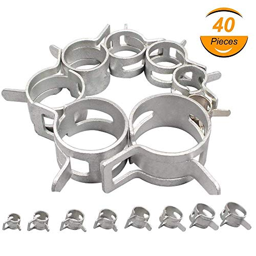 6mm 8mm 10mm 12mm 14mm 16mm 18mm 20mm Hose Clamp EAHOME【40 Piece 8 Size】Adjustable Stainless Steel Hose Clip Drive Pipes Silver/Connection Fittings for Home Gas Pipe Car Tractor Locomotive Ship