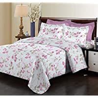 Bombay Dyeing Elixir Collection Flat Double Bedding Set, Pink, 229cm X 254cm, 3971 A