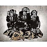 Fototapete Banksy Streetart Affen Geldsäcke Vlies Wand Tapete Wohnzimmer Schlafzimmer Büro Flur Dekoration Wandbilder XXL Moderne Wanddeko - 100% MADE IN GERMANY - Runa Tapeten 9150010b