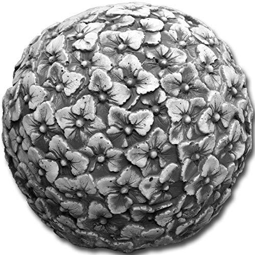 gartendekoparadies.de Großes, schönes Dekorationselement Kugel Motiv: Veilchen aus Steinguss, frostfest