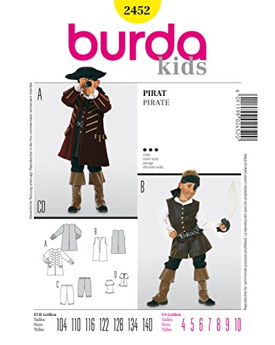 Burda 2452 Schnittmuster Kostüm Fasching Karneval Pirat (kids, Gr. 104 - 140) Level 3 (Shirt Satin Kostüme Piraten)