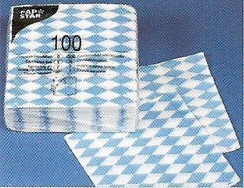 Preisvergleich Produktbild PAPSTAR Servietten/Tissueservietten bayrisch blau (100 Stück) 1-lagig, 1/4-Falz, 33 x 33 cm, für Gastronomie oder Feste, für bayrische Spezialitäten, 11121