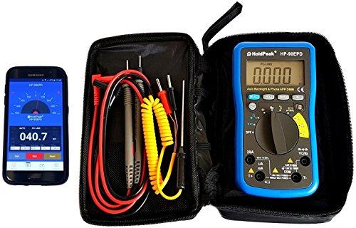 HoldPeak HP-90EPD Digital Multimeter mit mobiler App Nutzung, Batterietester, Autorange, automatische Beleuchtung, blau-grau