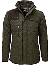 SoulStar Men's Diamond Quilted Cord Patch Jacket
