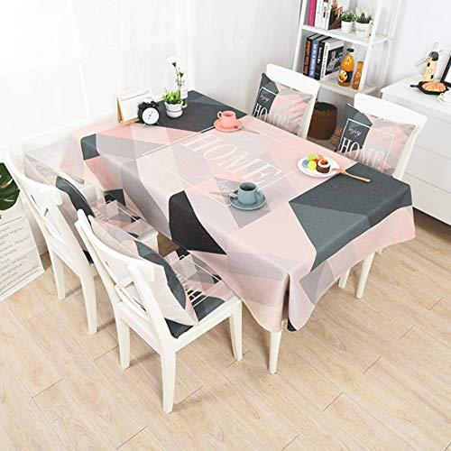 Yammucha Tischdecke Baumwolle Und Leinen Tuch Art Anti-hot Square Tischdecke Tischdecke Dekoration Haus Tischdecken Geeignet für Zuhause (Color : Pink, Size : 140 * 200CM)