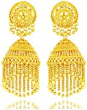 Bling N Beads Partywear 18K Gold Plated Golden Jhumkis For Friendship Diwali Gift For Her