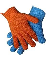 2 Paar (4 Stk) Peeling-Handschuhe, 2 Größen | Dusch-Handschuhe | Massage-Handschuhe orange blau Peelinghandschuhe reinigen porentief entfernen abgestorbene Hautschüppchen Körper-peeling Bad Dusche