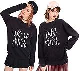 JWBBU Best Friends Pullover für Zwei Mädchen Sister Sweatshirts Damen Beste Freunde Hoodies Freundin BFF Rundhals-Pulli Geburtstagsgeschenk(Schwarz+Schwarz,Short-L+Tall-XL)