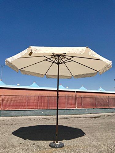80148 Ombrellone da 3 m Tondo Giardino Bar Terrazzo Mare Piscina Alluminio Ecrù Eurolandia