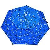 SUMCHIMAMZUK 2 Schicht Angelschirm Regenschirm UV-Schutz Sonnenschirm Umbrella Hut Blau