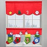 Fuibo Gardinen, Weihnachtsstrümpfe Tür Fenster Vorhang Wimpel Bunting Valance Dekor 2 Set (Rot)