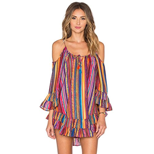 Minikleid,SANFASHION Frauen Sommer Rainbow Print Fransen Strandkleid lose Chiffon Strap Kleid