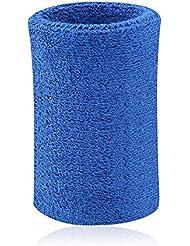Kry - Muñequera / sudadera absorbente de algodón para deportistas de baloncesto, bádminton y tenis , azul