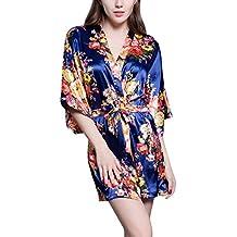 Dolamen Mujer Vestido Kimono Satén, 2017 Nuevo Camisón para mujer, Lujoso Impresión floral Pijamas Camisón Robe Albornoz Dama de honor Fiesta de bodas Ropa de dormir Pijama