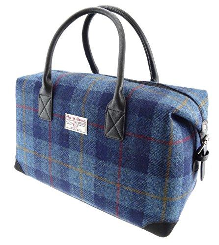 Harris-Tweed-Dark-Blue-Tartan-Holdall-Bag
